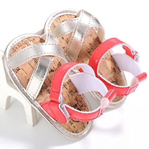 Igemy 1Paar Baby draußen Sandalen Kleinkind Prinzessin erste Wanderer Mädchen Kinder Schuhe Red
