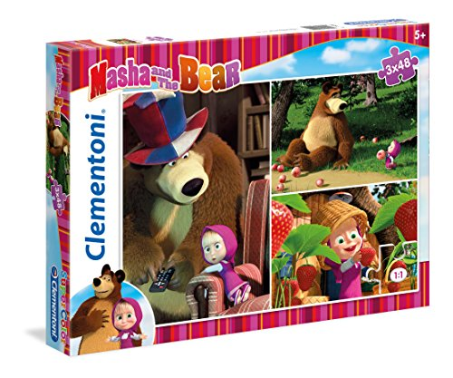 Clementoni - 25202-Puzzle 3 x 48p - masha and the bear-Puzzles