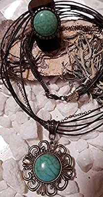 parure bronze cabochon vert turquoise bague/collier/bracelet/boucle d'oreille/bijoux de sac