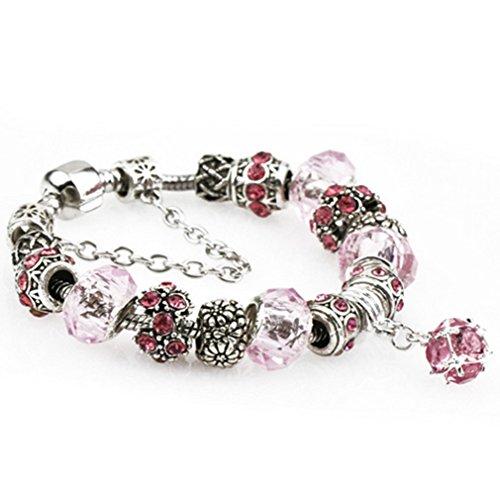 Preisvergleich Produktbild Ziwater Pandora Charms Armband Retro Silber Diamanten Blume DIY Wulstige Armband Handgemachte Beads Modeschmuck (19cm, Rosa)