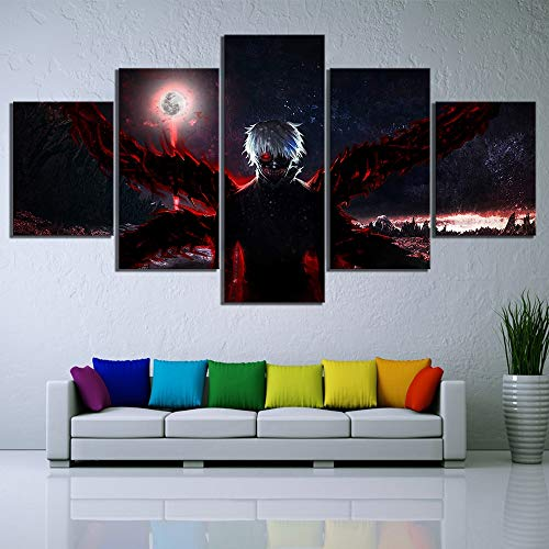5 lienzo Marco De Madera HD Print Home Decor Anime Wall...