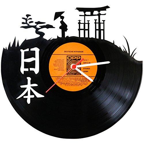 """GRAVURZEILE Wanduhr aus Vinyl Schallplattenuhr """"Japan"""" Upcycling Design Uhr Wand-Deko..."""