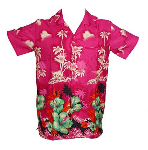 Camisa-hawaiana-para-hombre-diseo-de-palmeras-para-la-playa-fiestas-verano-y-vacaciones-XL-rosa