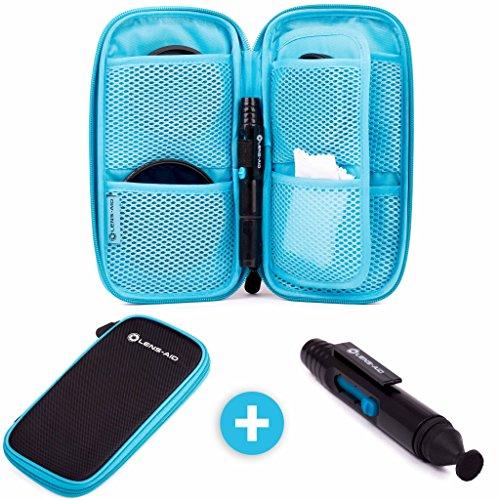 Große Filtertasche mit 9 Fächern inkl. Lens-Pen für Filter bis 82mm, Tasche für Objektiv Polfilter, UV-Filter, Kamera Deckel, Akkus Etc. von Lens-Aid