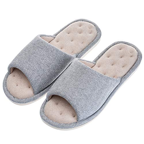 Echoapple Women Mens Unisex Washable Cotton Open-Toe Home Slippers Indoor Shoes Comfy Velvet Lined Memory Foam Indoor Shoes