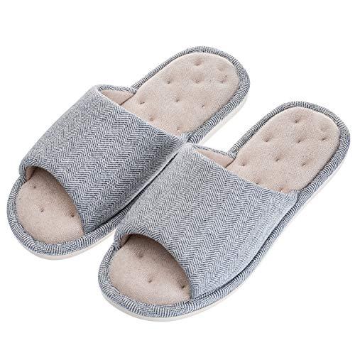 Echoapple Women Mens Unisex Washable Cotton Open-Toe Home Slippers Indoor Shoes Comfy Velvet Lined Memory Foam Indoor Shoes