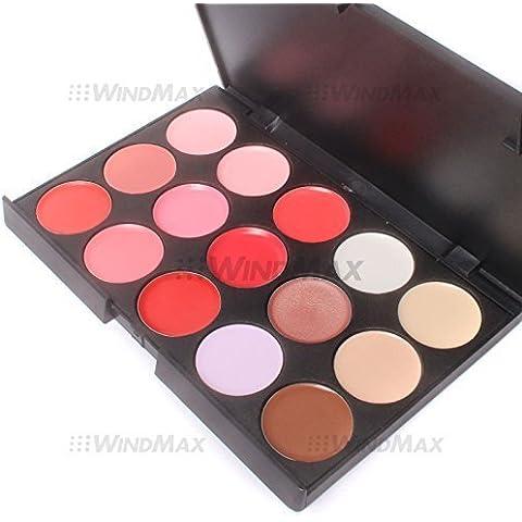 WindMax (R) 15 Color Solid Lip Gloss Lipstick Palette Cosmetic