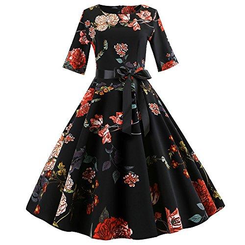 (IMJONO Frauen Kleid Dress Frauen Vintage Print Sleeve Lässige Abendkleid Tanzkleid Swing XL(X-Large,Schwarz))