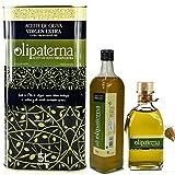 Kaltgepresstes Extra Natives (Virgin) Olivenöl aus Andalusien Olipaterna Säure 0,3 1A | 100% natürliches & reines Olivenöl für Feinschmecker | 5 L Kanister + 750 ml Flasche + 250 ml Flasche