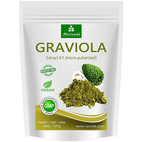Graviola Pulver 120g, Frucht- und Pflanzenextrakt 4:1, Qualitätsprodukt von MoriVeda - Sauersack (1x120g) (Sie Wird Nicht Vergehen)