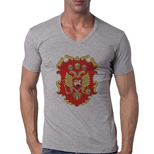 Russia Country Symbol Put In Logo Herren V-Neck T-Shirt Grau