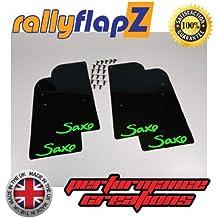 rallyflapZ Guardabarros para Citroen Saxo (1996-2003) Cantidad 4 Negro Guardafangos Logo Verde Lima (4mm PVC)