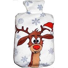 """'Cojín de Semillas en Navidad Lichem Diseño: """"Blanco con Reno... con la tamaño compacto también utilizable como calentadores."""