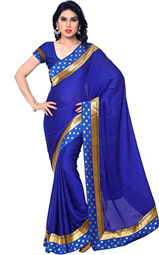 EthnicJunction Women's Emboss Crepe Saree With Blouse (EJ1164-2001_Blue)