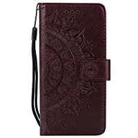 ESSTORE-AE Flip Cover Case for Samsung Galaxy A8 Plus Leather + 1 x Dual-Use Stylus Pen | Foldable Stand | Wallet Card Slots, Brown