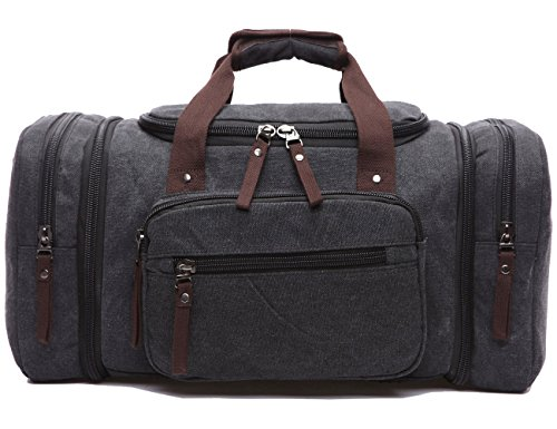Leaper Weekender Handgepäck Reisetasche Canvas Segeltuch Sporttasche Umhängertasche Handtasche für Reise am Wochenende Urlaub(Kafeebrau) Schwarz