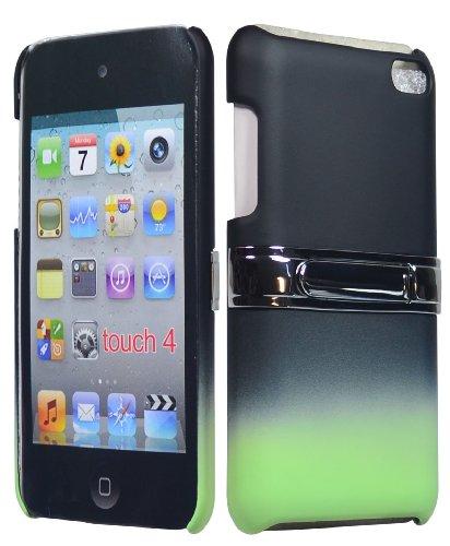 Bastexwireless Bastex Hard Gummierte Zwei Tone Fade Schutzhülle mit Chrom Ständer für Apple iPod Touch 4, 4. Generation (8GB 16GB 32GB)-Schwarz & Mint Blaugrün Grün (Ipod-touch-fall 8gb)