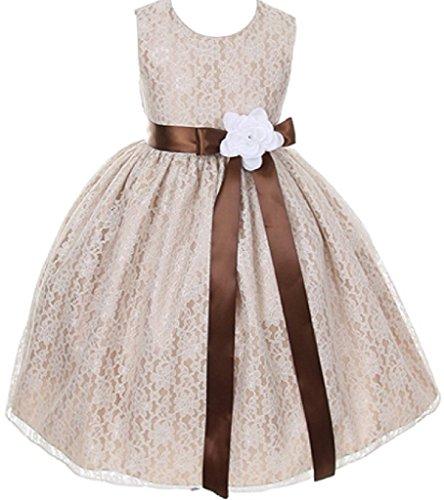 Dreamer P Mädchen Kleine Champagner Spitze Band Kleid Personalisierte Blume Kleider 18 Gürtel braun / weiße Blume