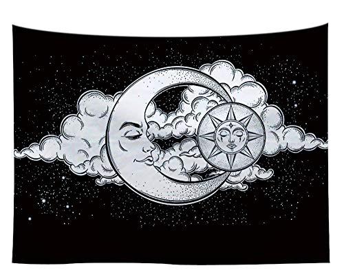 LoveTapestry Tapices Tapiz Paño del Fondo De La Decoración De La Luna Y del Sol Ropa De Meditación Cortinas Tela Colgante,150X130 CM