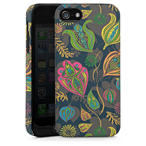 Apple iPhone SE Housse Outdoor Étui militaire Coque Fleurs Fleurs Motif Cas Tough brillant