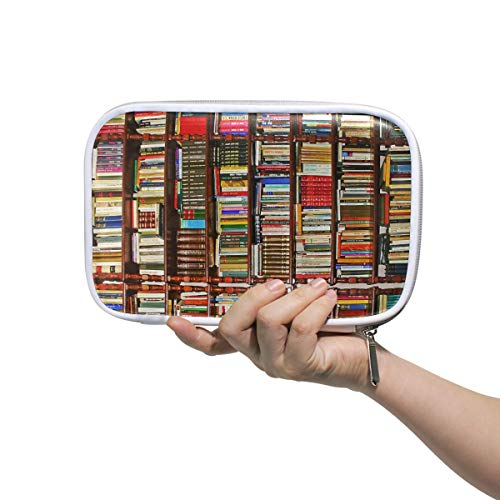 Buntes Bücherregal mehrere große Leder Bleistift Stift Taschen Beutel Reise Kosmetik Fall Passport Wallet mit Reißverschluss -