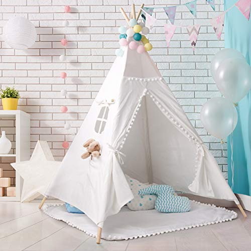 PB PEGGYBUY Tipi Spielzelt für Kinder Zelt für Kinder - Segeltuch Kinderzelt Indianer Indianerzelt Tipi Zelt Spielhaus Spielzelt Kinderzelt (Weiß 150cm Hoch)