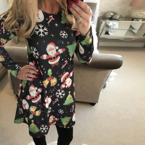 Ineternet Femme Robe de Noël Imprimer Robe Swing Dames à Manches Longues Robes de Soirée évasée C