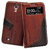 elephones Schutzhülle geeignet für Samsung Galaxy S4 Hülle Handyhülle Handy-Tasche Wallet Case Cover Braun