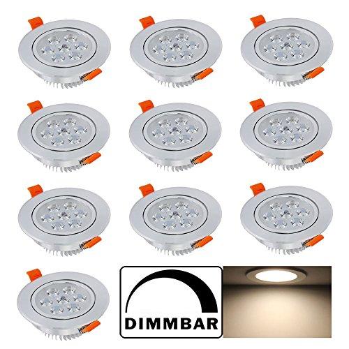 Hengda® 10 pcs 7W LED Einbauleuchten Deckenleuchten Dimmbar für Badezimmer Flur Wohnzimmer Beleuchtung Alu Einbauspot AC85V-265V Light