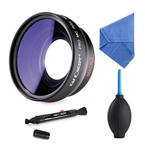 K&F Concept 52mm Super-Weitwinkel-Objektiv 52mm 0.45x Professionelle HD Weitwinkelkonverter Weitwinkelvorsatz mit Makro Reinigungstuch Reinigungspinsel Blasebalg für Canon Objektivbajonett