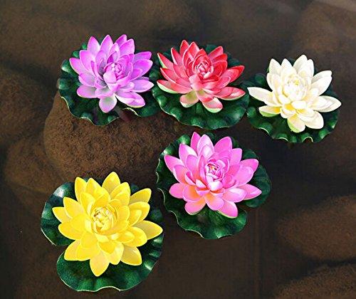Buwico® Schwimmende Teich Decor Seerose/Lotus-Blume aus Schaumstoff Aquarium Teich Scenery Lotus, 4Stück/Set 2x 10cm, 2x 17cm PE-Schaumstoff Blume für Garten