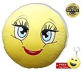 EasY Kid's ToY- Emoji Smiley Kissen Lady Plüsch knallig gelbe Farbe D~32cm Rund, Whatsapp emoticon für Kinder, Lustiger Kuschelkissen Spass garantiert, Ideales Geburtstag Geschenk zur Deko