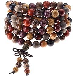 Jovivi 8mm108 Perles en Bois de Santal Naturel Collier/Bracelet Chaîne Chapelet Multi-Tour Multicolore Perles Tibétain Bouddhiste Bouddha Mala Chinois Noeud Élastique Homme Femme