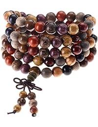 Jovivi 8mm Bois Multicolore Perles Naturels Collier Chaîne Bracelet Tibétain Bouddhiste Bouddha Mala Chinois Noeud Élastique Homme,Femme