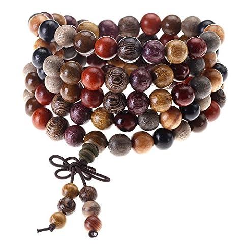 Jovivi 8mm Bois Multicolore Perles Naturels Collier Chaîne Bracelet Tibétain Bouddhiste Bouddha Mala Chinois Noeud Élastique
