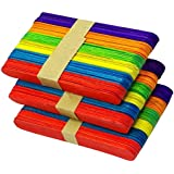 Lovely Arts Collection Wooden Ice Cream/Popsicle Sticks and Spoon for Arts and Craft DIY School Project (Multicolour, LAC83) - 100 Pieces Approx