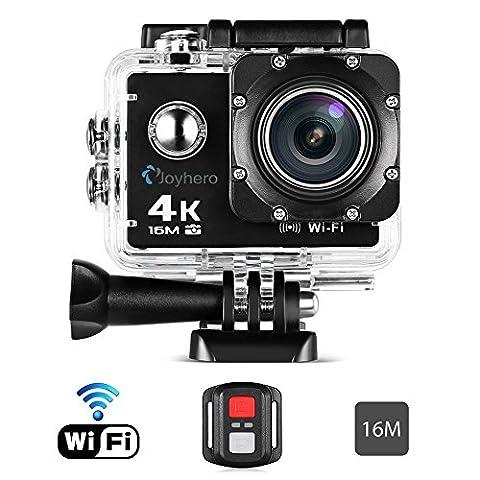 Caméra Sport Action 4k Joyhero 16MP Télécommande Wifi 30m Etanche Sous-Marine Ultra HD Haute Définition 4X Rechargeable Antichoc Connecté avec Smartphone Ordinateur TV Projecteur+ 25 Kit
