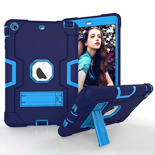 Yoomer Schutzhülle für iPad Mini 2, iPad Mini 3, dreilagiges Silikon + Harte PC Bumper Armor Defender strapazierfähig stoßfest robust Hybrid Schutzhülle mit Ständer für iPad Mini 1/2/3, Navy+Blue