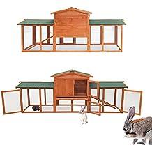 WilTec Conejera Corral Jaula Conejos casa roedores hámsteres Mascotas Espacio Libre Corredor Zona Abierta