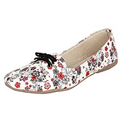 Authentic Vogue Womens Black Laces Flowery Print Casual Loafer 41 EU