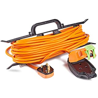 VonHaus Extension Lead Splash-Proof 15m H-Frame - One Socket - Tidy Power Lead/Cable Holder - Convenient Carry Handle