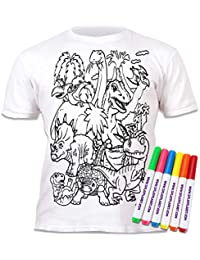 29988b83 Splat Planet Colour-in Dinosaur T-Shirt with 6 Non-Toxic Washable Magic