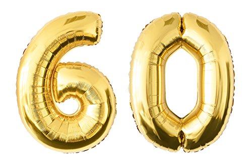 Globo de lámina 60 dorado Número enorme 100 cm rellenable con helio o aero fiesta de cumpleaños