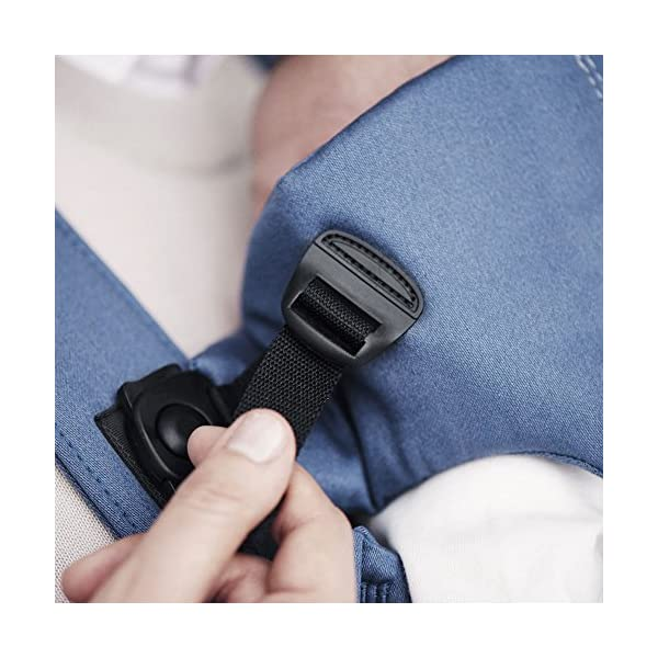 BABYBJÖRN Baby Carrier, Vintage Indigo Baby Bjorn Perfect first baby carrier for a newborn Small and easy to use BCI-certified cotton that is stretchy in the seat area and satin woven to make it super-soft and comfy 4