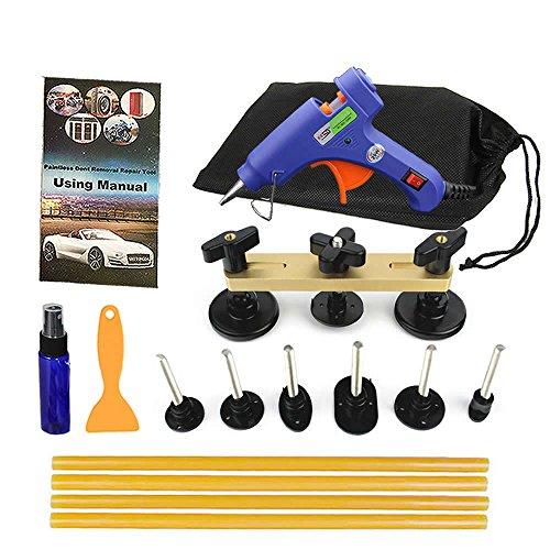 Shitongda kit PDR di strumenti per riparazione di ammaccature su carrozzeria senza verniciatura, set di 16 pezzi, per ammaccature da grandine, strumento estrattore, strumento ponte