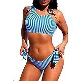 Women Two Piece Bikini Blue Striped Asymmetry Halter Swimwear for Summer Beachwear Beach Sexy Swimsuits Swimwear Set Bikini Sets Beach Swimwear (Color : Blue, Size : M)