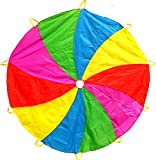 Edz Kidz 210T Fun Play Swirl Pattern Parachute with 10 Handles. Ideal Indoor/Outdoor play mat and Picnic Blanket. … (6\')