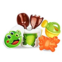 YBWZH Kids Cartoon Tiny Beach Sand Tools Toys Bucket Set Children Outdoor Toys(Rake,Dig,Pile,Mold And Build The Sand Castle)