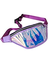 Women Shiny Wasit Bag Fashion Reflective Chest Bag Outdoor Sports Travel Bags (Purple)