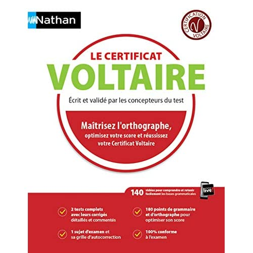 Le certificat Voltaire - 2018